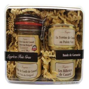 Coffret cadeau de terrines, rillettes, foie gras