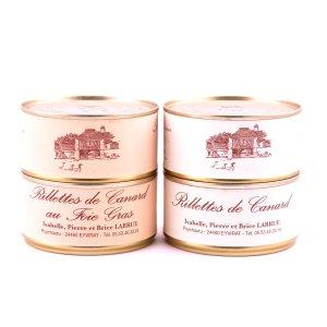 Lot de 2 rillettes natures et 2 rillettes au foie gras
